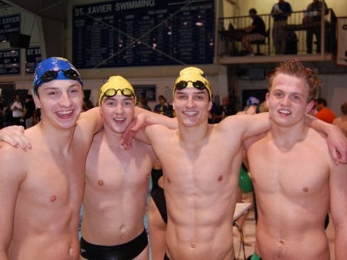 Moeller took the 400 medley relay at the Southwest Classic meet last season. From left are Kevin George, Noah Worobetz, Greg Nymberg and Cooper Hodge.