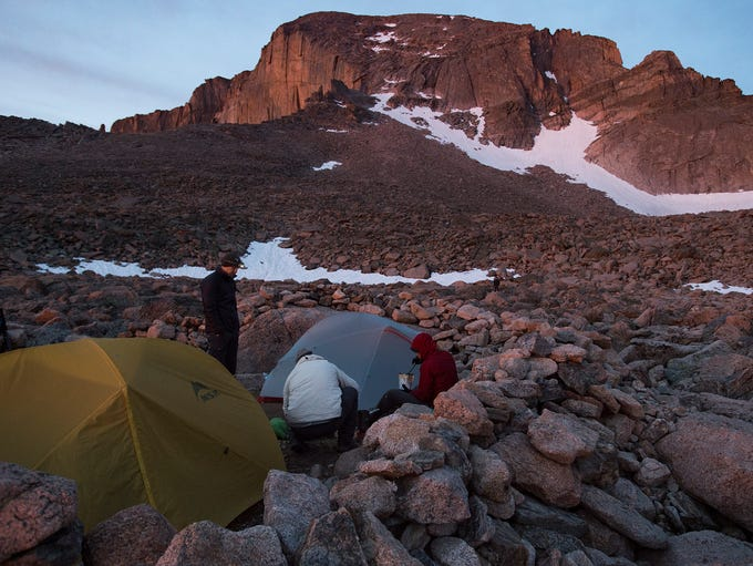 Campers prepare for their climb of Longs Peak in Rocky
