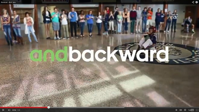 A screenshot of the commercial that partially took place at Dallastown Area High School.