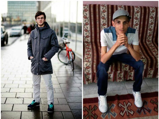 """COMBO - In this combination of two photos of Omar Alshogre, a 21-year Syrian former detainee, now living in Stockholm, Sweden. The left picture is of Alshogre taken on January 2017 in Stockholm, Sweden. The right picture is of Alshogre in July 2015 in Antakya, Turkey, a month after he got out of Syria's Saydnaya prison, near Damascus. While in detention, Alshogre said he heard men escorted to be hanged and had himself been called for """"execution"""" but was spared after a brief trial. Amnesty published a new report on Tuesday revealing that as many as 13,000 men were hanged in secret in a Syrian prison between 2011 and 2015, as part of a government campaign of extrajudicial executions. The group says for five years, once or twice weekly, groups of up to 50 people were taken out of their prison cells and hanged to death."""