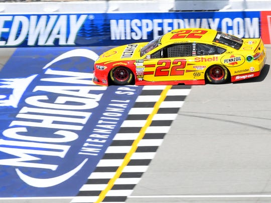 Joey Logano (22) during practice for the FireKeepers Casino 400 at Michigan International Speedway on June 16, 2017.
