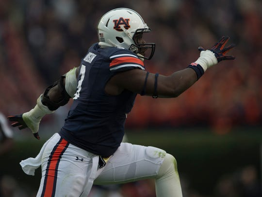 Auburn defensive lineman Marlon Davidson (3) celebrates after a sack during the NCAA football game between Auburn and Georgia on Saturday, Nov. 11, 2017, in Auburn, Ala. 