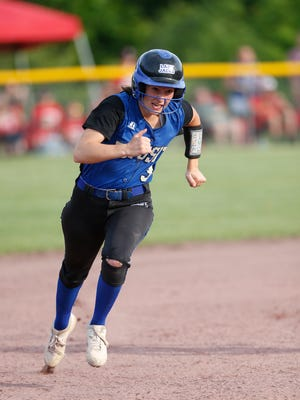 Deposit's Bryn Martin rounding the bases during the Class D final against Fort Ann at the NYSPHSAA Softball Championships in Ganesvoort on June 9, 2018.