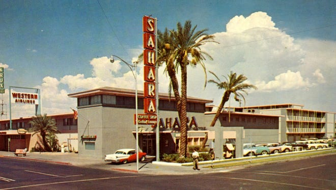 "The Sahara Motor Inn opened in 1956 at the corner of First and Polk streets. Marilyn Monroe stayed in the hotel's three-room penthouse suite overlooking the pool while she was in town to shoot the movie ""Bus Stop."" It became the Ramada Inn in the 1960's."