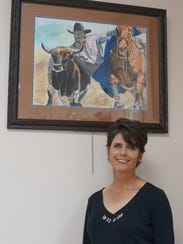 Artist Maria Hamilton and painting she created which