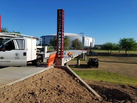 Pedestrian bridge construction near University of Phoenix