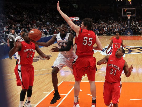 Jeremy Hazell of Seton Hall shoots against Gilvydas Biruta of Rutgers in 2011.