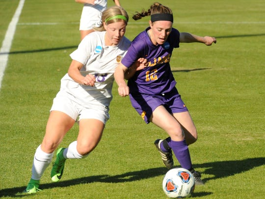 Hardin-Simmons junior midfielder Josey Meyer, left