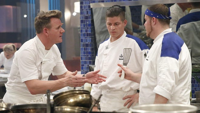 """Chef Gordon Ramsay with contestants Koop and Andrew in """"17 Chefs Compete,"""" an upcoming episode of """"Hell's Kitchen"""" airing Friday at 8 p.m. on Fox."""