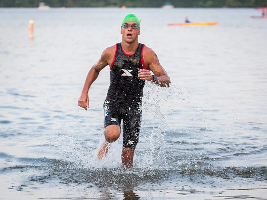 FILE -- Hundreds of athletes traveled from all over the world to compete in the 2018 Ironman 70.3 at Prairie Creek Reservoir.