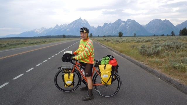 Dale Hutjens of De Pere sits on his bike at Grand Teton National Park.