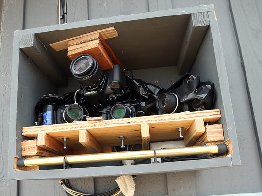 FILE PHOTO - Greg Johnson's four-camera setup is located near the roofline of his home in Hansville.