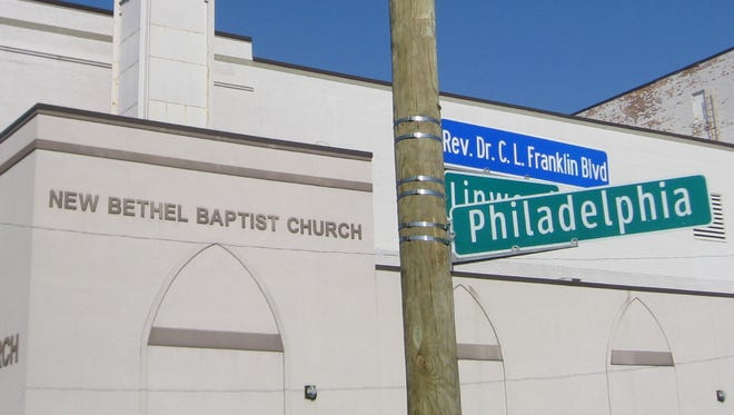 A portion of Linwood Street outside of New Bethel Baptist Church in Detroit has been renamed for the late C.L. Franklin, who used to be pastor of the church on June 24, 2016.