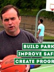 A screen capture of Mayor Cranley in an Issue 22 commercial.