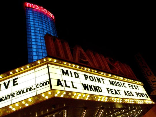 The marquee at the Madison Theater in Covington advertises