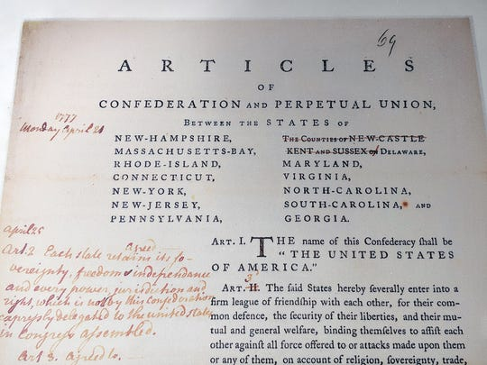 This is an example of some of the work, showing edits to the Articles of Confederation, which might be displayed on stainless steel columns.