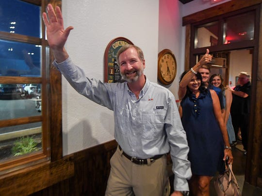 Chris Todd waves to supporters as he enters his watch party after defeating Jay Bush and Joe Coury in the race for the Tennessee House of Representatives 73rd District Republican primary with 4,016 votes. Baxter will run against James Baxter in November.