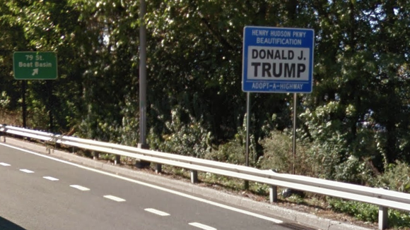 Donald Trump's Adopt-A-Highway sign on the Henry Hudson