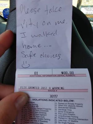 A Wausau officer took pity on a driver who left a message on a windshield.