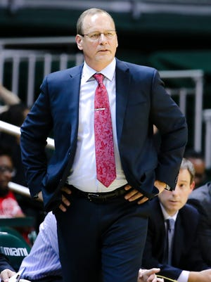 UL coach Bob Marlin looks on during the second half of a November 2015 loss at Miami.