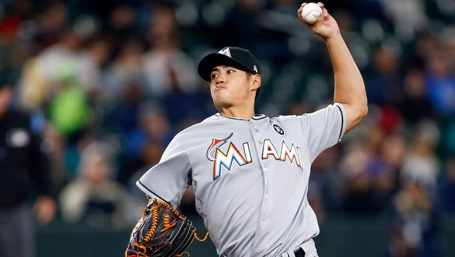 Marlins starting pitcher Wei-Yin Chen threw seven innings of no-hit ball against the Mariners.