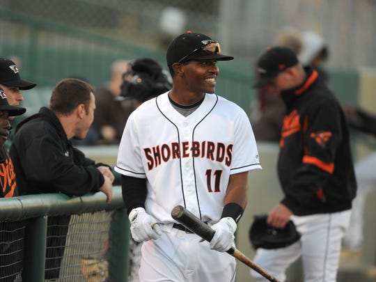 Delmarva Shorebird Mychal Givens heads to the dugout prior to their exhibition game on Tuesday, April 6, 2011 against Salisbury University.