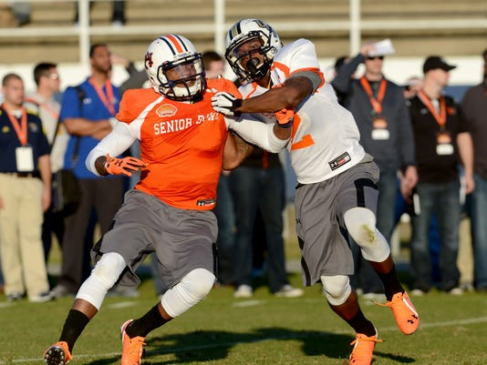Nick Marshall practices Senior Bowl South Team practice in Fairhope