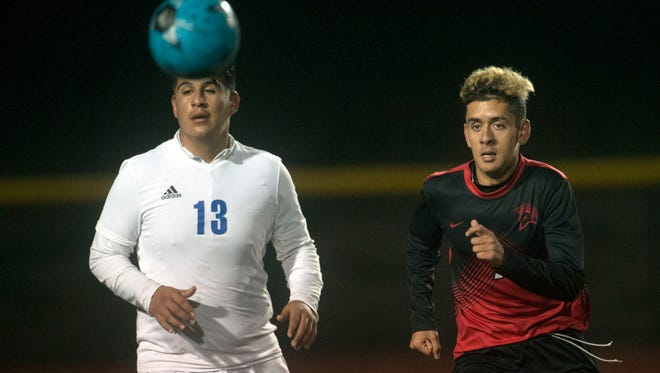 Rio Mesa's Andy Zavala (right) and Fillmore's Alejandro Rodriguez pursue the ball during a game earlier this season. A year ago Zavala didn't have many playing minutes, but this year he's become one of the most productive players in the league.