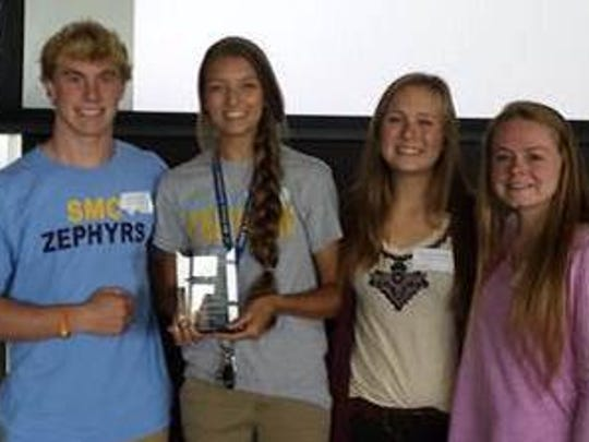 """St. Mary Catholic High School has been selected as the recipient for the """"Most Collected-Division 3 School"""" blood donations for the second year in a row. The Key Club members accepting the award on behalf of the school are (from left) Zach Roloff, Alex Rosiejka, Maggie Braatz, Christine Schultz and Kaylie Bittner."""