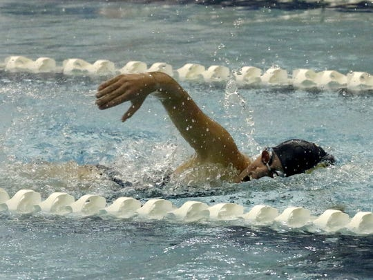 Catherine Craig of Elmira Notre Dame competes in the 200-yard freestyle at the Section 4 Class C prelims Nov. 1 at Watkins Glen.