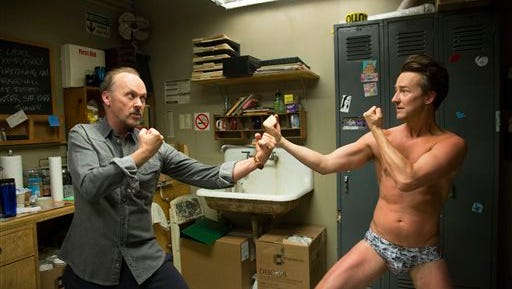 """This image released by Fox Searchlight Pictures shows Michael Keaton, left, and Edward Norton in a scene from """"Birdman.""""  (AP Photo/Fox Searchlight Pictures)"""