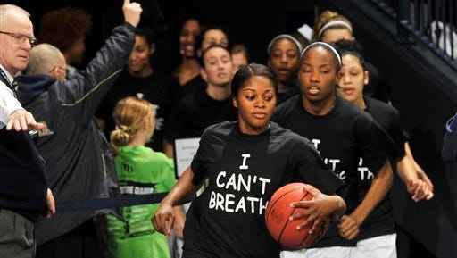 On Dec. 13, Notre Dame players wore shirts in protest of the death of a black man while he was being arrested by a white police officer in New York City. On Dec. 3, a grand jury decided not to indict the officer.