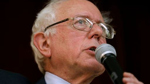 "FILE - This Dec. 16, 2014, file photo, Sen. Bernie Sanders, I-Vt., speaks during a town hall meeting in Ames, Iowa. Sanders says he'll decide by March whether to launch a 2016 presidential campaign. He says if he does, it won't just be to nudge the debate to the left. Sanders, a socialist, tells The Associated Press he won't get into the race unless he thinks he can win. At a time of increasing wealth inequality, a populist message of taking on ""the billionaire class"" might resonate, he says. (AP Photo/Charlie Neibergall, File)"