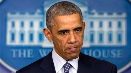 President Barack Obama speaks to the media in the briefing room of the White House, Monday, Nov. 24, 2014, in Washington, after the Ferguson grand jury decided not to indict police officer Darren Wilson in the shooting death of Michael Brown. (AP Photo/Jacquelyn Martin)