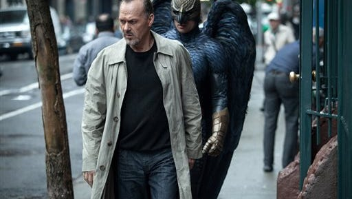 """In this image released by Fox Searchlight Pictures, Michael Keaton portrays Riggan in a scene from """"Birdman."""" Keaton was nominated for an Oscar Award for best actor on Thursday, Jan. 15, 2015, for his role in the film. The 87th Annual Academy Awards will take place on Sunday, Feb. 22, 2015 at the Dolby Theatre in Los Angeles. (AP Photo/Fox Searchlight, Atsushi Nishijima)"""