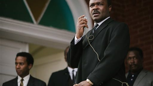 """In this image released by Paramount Pictures, David Oyelowo portrays Dr. Martin Luther King, Jr. in a scene from """"Selma."""" The film was nominated for an Oscar Award for best feature on Thursday, Jan. 15, 2015. The 87th Annual Academy Awards will take place on Sunday, Feb. 22, 2015 at the Dolby Theatre in Los Angeles. (AP Photo/Paramount Pictures, Atsushi Nishijima)"""