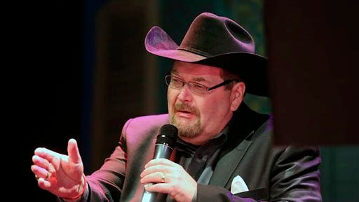In this undated photo provided by Steve Wright Jr., Jim Ross speaks. Ross has gone down as one of the great broadcasters in WWE history and will bring his one-man show to Philadelphia in conjunction with the Royal Rumble.
