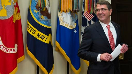 Ash Carter,  the new Defense Secretary, was sworn in Tuesday, Feb. 17, 2015, in the Roosevelt Room of the White House in Washington.  Carter, 60, is President Barack Obama's fourth secretary of defense.