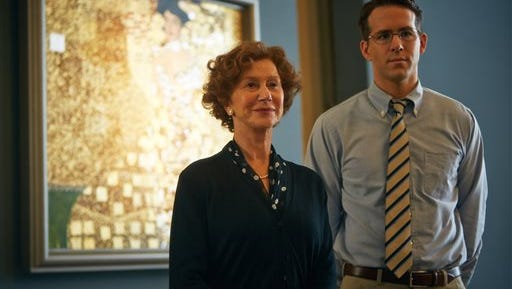 """This photo provided by The Weinstein Company shows, Helen Mirren, left, and Ryan Reynolds, in a scene from the film, """"Woman in Gold.""""  (AP Photo/The Weinstein Company, Robert Viglasky)"""