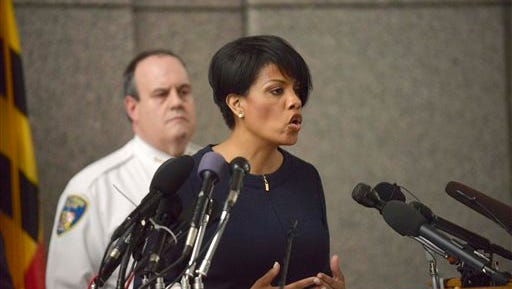 """Mayor Stephanie Rawlings-Blake speaks to the media at a news conference on the death of Freddie Gray in Baltimore, Monday, April 20, 2015. Baltimore's top police officials, mayor and prosecutor sought to calm a """"community on edge"""" Monday while investigating how Gray suffered a fatal spine injury while under arrest. Six officers have been suspended, but investigators say they still don't know how it happened. (Kevin Richardson/The Baltimore Sun via AP)"""