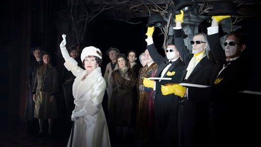 """This image released by The O and M Company shows Chita Rivera, left, during a performance of """"The Visit,"""" in New York.  (Thom Kaine/The O and M Company via AP)"""