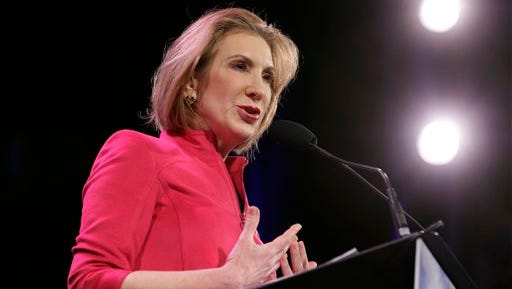 """FILE - In this Jan. 24, 2015 file photo, Carly Fiorina speaks in Des Moines, Iowa. Fiorina, the lone Republican woman eying the White House, wants to block Hillary Rodham Clinton from playing the """"gender card"""" in the 2016 presidential race. A former business executive with limited political experience, Fiorina argues that if Republicans nominate her, it would neutralize any advantages Democrats might get from having a woman at the top of their ticket. (AP Photo/Charlie Neibergall, File)"""