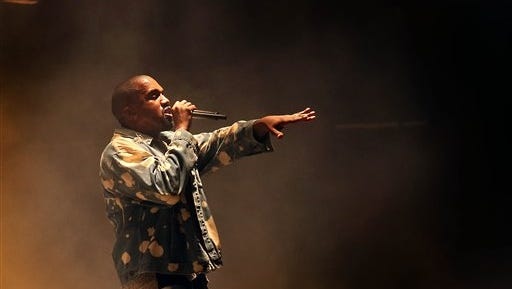 Kanye West performs on the main Pyramid stage during the Glastonbury music festival on Saturday at Worthy Farm, Glastonbury, England.