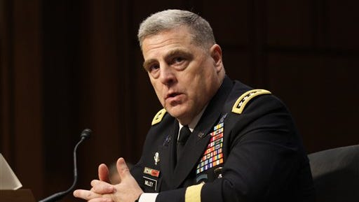 Gen. Mark Milley answers questions at his confirmation hearing to be Chief of Staff of the Army at the Senate Armed Services Committee on July 21, 2015 on Capitol Hill in Washington. Milley responded to questions about the deaths of four Marines and a sailor who were killed Thursday in Chattanooga, Tennessee.