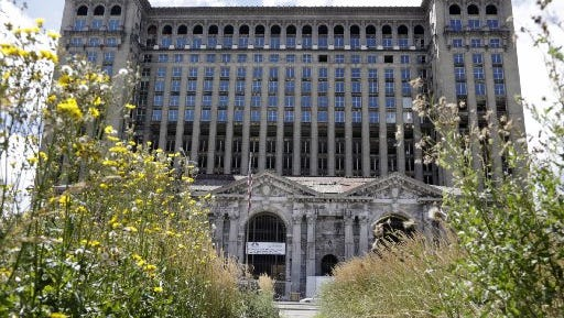 The project to install new windows in the old Michigan Central Station is now a little more than halfway done.