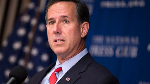 In this Aug. 20, 2015 file photo, Republican presidential candidate, former Pennsylvania Sen. Rick Santorum speaks at the National Press Club in Washington.