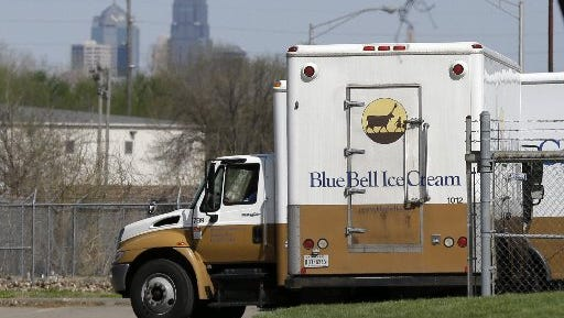 Blue Bell delivery trucks are parked at the creamery's location in Kansas City, Kan., on April 10, 2015.