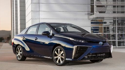 Toyota executive said Wednesday the company wants to cut 90% from its average 2010 emissions by 2050, largely through increased sales of hybrids and fuel cell cars like its Mirai sedan, now on sale in California.
