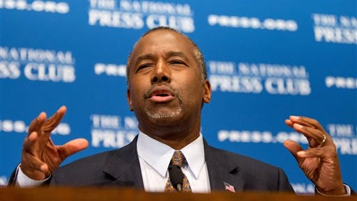 In this Oct. 9, 2015 file photo, Republican presidential candidate Dr. Ben Carson speaks at the National Press Club in Washington.