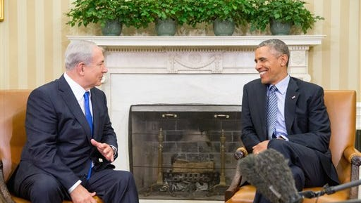 President Barack Obama meets with Israeli Prime Minister Benjamin Netanyahu in the Oval Office of the White House in Washington on Monday.